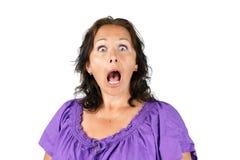 有开放嘴的震惊妇女 库存照片