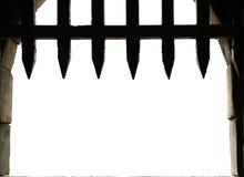 有开放portcullis的城堡门 免版税库存照片