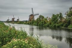 有开花的灌木和风车的平直的运河在银行在小孩堤防的一多云天 库存图片