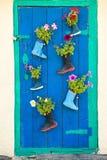 有开花的花的老胶靴 免版税库存图片