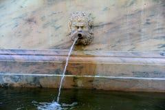 有异想天开的面孔的大理石喷泉作为喷口,春天的霍尔,萨拉托加,纽约, 2018年 库存照片