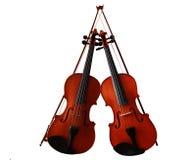 有弓的两把小提琴 免版税库存照片