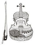 有弓的小提琴 Zentangle传统化了 模式 向量 库存图片