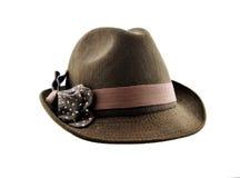 有弓的布朗俏丽的帽子 库存图片