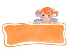 有弓的滑稽的微笑的女孩 橙色横幅 向量例证