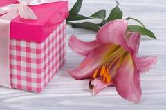 有弓的礼物盒和一个美丽的百合开花 免版税库存图片