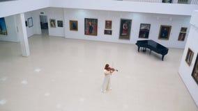 有弹小提琴的夫人的宽敞画廊大厅 影视素材