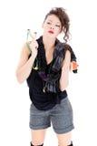 有弹弓的少妇 免版税库存图片