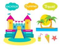 有弹性的城堡集合 在白色背景的动画片例证 有弹性的城堡租务 免版税库存照片