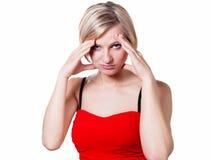有强的头疼的妇女 库存图片
