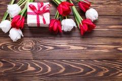 有当前和明亮的红色和白色郁金香的被包裹的箱子开花 图库摄影