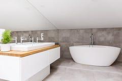 有形状的浴缸的卫生间 免版税库存图片