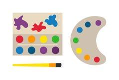 有彩色插图的现代艺术调色板 图库摄影