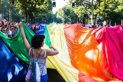 有彩虹对象和旗子的人们 库存图片