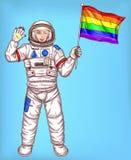 有彩虹旗子的年轻宇航员女孩 库存照片