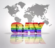 有彩虹旗子的词同性恋者 免版税库存图片