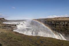 有彩虹的古佛斯瀑布 库存照片