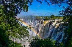 有彩虹的维多利亚瀑布 免版税库存图片