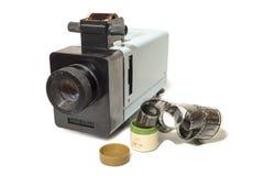 有影片的老幻灯机 免版税库存照片