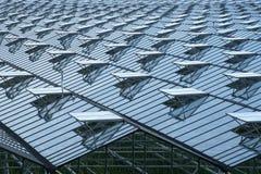 有很多被打开的窗口的温室屋顶 免版税库存图片