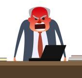 有得到红色的面孔的恼怒的上司 免版税库存照片