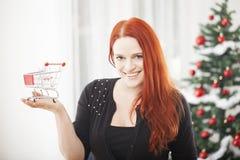 有微型购物台车推车的圣诞节女孩 免版税图库摄影