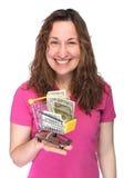 有微型购物车的少妇 免版税库存图片