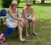 有微笑的两名美丽的成人白肤金发的妇女 库存照片