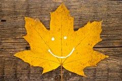 有微笑的秋天黄色叶子在土气木背景 autum 免版税图库摄影