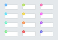 有徽章和阴影的1个到12个简单的传染媒介正文框 免版税库存图片