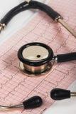 有心电图的听诊器 免版税库存照片