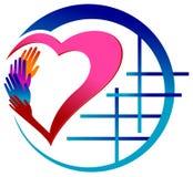 有心脏传染媒介图象的五颜六色的手 免版税库存图片