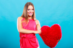 有心脏形状枕头的妇女 所有cmyk颜色日编辑可能的单元文件例证分别地分层了堆积爱模式打印准备好的s华伦泰 库存图片