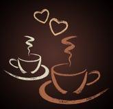 有心脏形状的两个手拉的咖啡杯 免版税库存图片