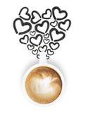 有心脏形状黑色笔图画的白色拿铁咖啡杯 免版税库存照片
