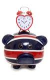 有心脏时钟的英国存钱罐 库存照片