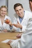 有心脏模型的老师在生物课的 库存图片