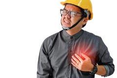 有心脏疾患的症状的工程师人 免版税图库摄影