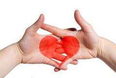 有心脏的两只手 库存照片
