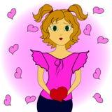 有心脏的动画片女孩在手上 免版税库存照片