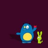 有心脏的动画片逗人喜爱的妖怪 友好妖怪 最好的朋友概念 库存图片