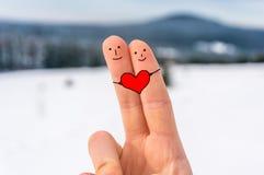 有心脏的愉快的两个手指 库存照片