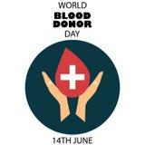 有心脏的手在红色背景例证,献血塑造 库存图片