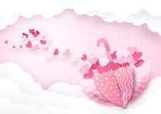 有心脏的逗人喜爱的伞在云彩背景塑造 库存图片