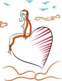 有心脏轻快优雅的情人节妇女 免版税库存图片