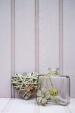 有心脏静物画爱概念的美丽的花瓶 库存照片