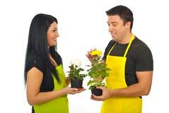 有快乐的交谈的卖花人 免版税图库摄影