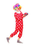 有快乐的表示的男性小丑在他的拿着礼物的面孔 图库摄影