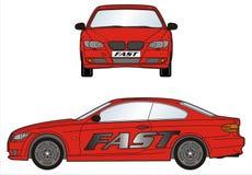 有快速的标志线的红色汽车 图库摄影