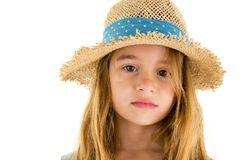有怀乡神色的柔和的恳切的小女孩 免版税图库摄影
